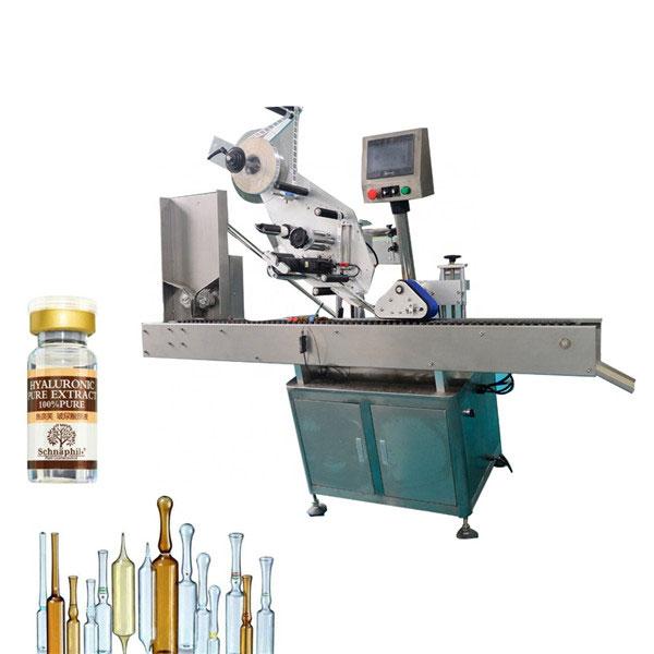 Stroj na označovanie nálepiek s malými guľatými fľaštičkami na fľašu s obsahom 10 ml